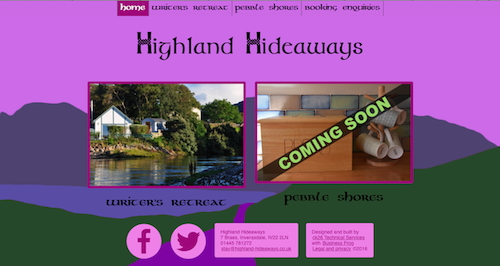 Website built for Highland Hideaways
